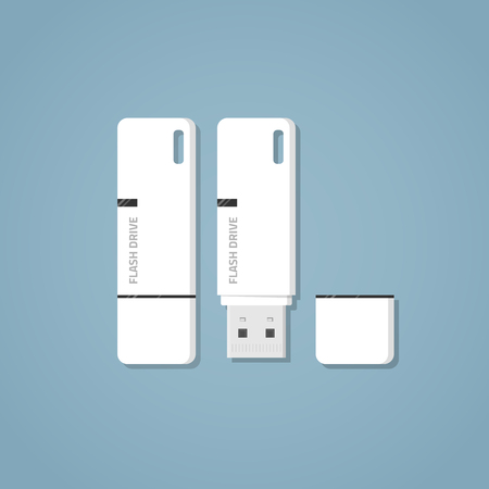 storage device: Open and closed white USB 3.0 flash drive with text and a mark on it on a blue background. Digital storage of information with an ear for the ribbon and a separate cap. Realistic flat style vector. Illustration