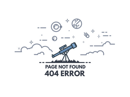 Page not found 404 design template. 404 error page flat line concept. Link to a non-existent page. Telescope searching planets and stars in the sky. Clouds and cosmos view.