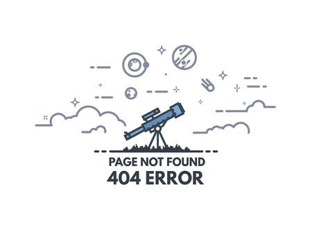 Nie znaleziono szablonu 404 strony. 404 koncepcja płaskiej linii strony błędu. Link do nieistniejącej strony. Teleskop szuka planet i gwiazd na niebie. Widok chmur i kosmosu. Ilustracje wektorowe