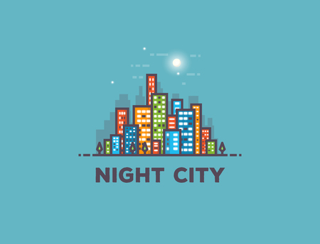 Night big city line style vector illustration. Full moon and stars with clouds. Architecture background with skyscrapers buildings. Modern town. Business center residential quarter or block. Illustration