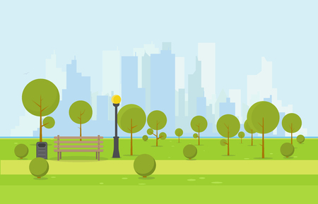 City park wooden bench, lawn and trees, trash can. Flat style illustration. On background business city center with skyscrapers and large buildings, river. Green park vegetation in center of big town Illustration
