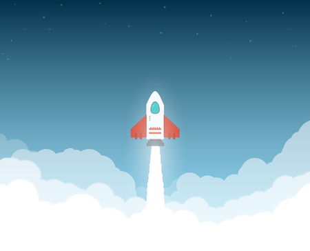 launched: Launched rocket. Clouds and sky, stars. Rocket flying through clouds to space. White exhaust and glowing. New project or business breakthrough. Cartoon style flat vector illustration.