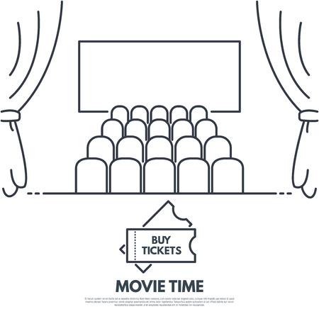 Bioscoop premiere lijnstijl vector. Bioscoop met stoelen en gordijnen. Groot scherm.