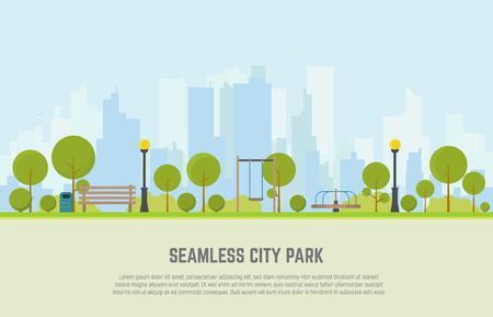 Creative concept of a Seamless city park bench, lawn and trees, trash can, swings and carousels. Flat style vector. On background business city center with skyscrapers. Vettoriali