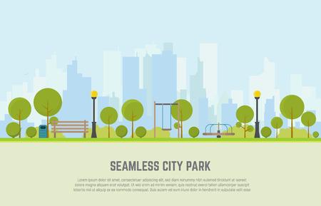 Concept creativo di una panchina della città senza soluzione di continuità, prato e alberi, pattumiera, altalene e giostre. Vettore stile piatto. Sul centro della città di affari di sfondo con grattacieli.