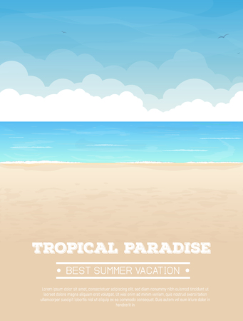 sand: Summer vacation vertical banner with text. Tropical sand beach, sea or ocean with waves
