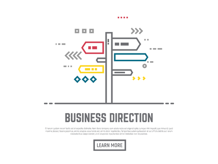 a way: Direction choosing concept. Flat vector line style roadside signpost illustration. Arrows and lines navigation. Road way sign boards on pole. Crossroad with destination choice. Text and button.