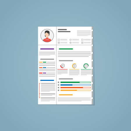 Resume for a hiring. With photo, different graphics, paragraphs and segmenting. Made in flat with different colors. Illustration
