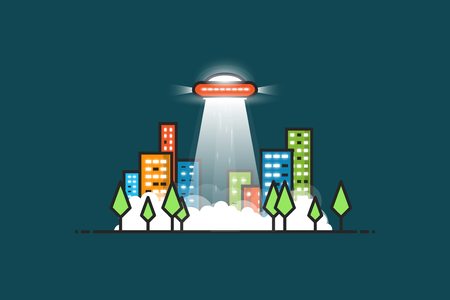 unidentified: UFO with gravitational abducting rays flying in the city. City park with trees and buildings with glowing windows at night. Fog and smoke on the ground. Space aliens visiting Earth.