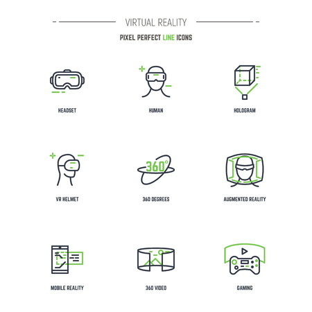 VR icon set. Line style thin and thick outlines vector. Glasses, headset, helmet, 360 degrees icon, joystick and other objects related to virtual reality. Pixel perfect 64x64 pixels icons.