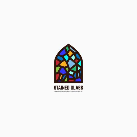 다채로운 스테인드 글라스 창입니다. 로고, 엠 블 럼 또는 텍스트 아이콘입니다. 두꺼운 선 스타일 플랫 스타일 선형 벡터. 건축 또는 종교. 밝은 유리