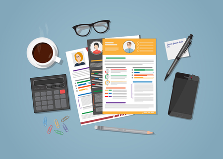 Flat realistic manager workplace for recruiting concept. Office objects, resume with candidate photo with various design. Coffee cup and mobile phone with glasses. Workspace calculation. Illustration