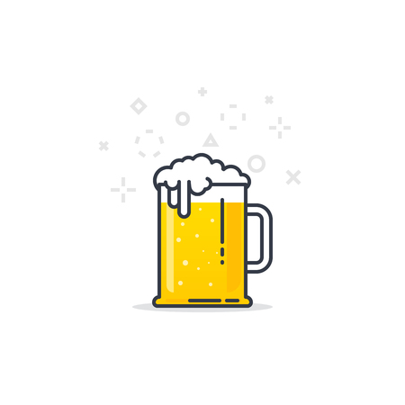 lager beer: Big glass with fresh yellow live beer and white foam, and bubbles. Line style flat vector illustration. Beer festival concept. Lager sort. Black lines and abstract dots and crosses. Illustration