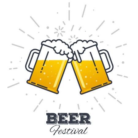 新鮮な黄色ライブ ビールと白い泡は、泡とグラスの 2 ギグします。ライン スタイル フラット ベクトル イラスト。ビール祭りのコンセプトです。ラ  イラスト・ベクター素材