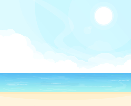 Hello summer beach party. Sea and clouds waves, tropical background. Ocean view and blue sky. Sunny cloudless day on ocean shore. Vacation poster concept. Paradise tropic beach. Illustration