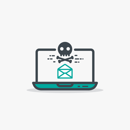 menace: Email with malware and laptop concept. Opened mail envelope and malware or virus skull and bones sign. Modern line style vector illustration. Notebook with e-mail and harmful software.