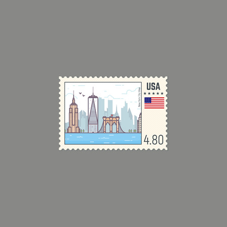 perforation: Postage stamp with New York view. Rectangle US postage stamp with perforation. Flat style line modern vector illustration with retro colors. For postal envelopes, postcards or letter retro style.