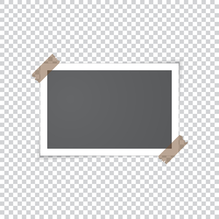 Old vintage photo frame sticked with adhesive scotch tape. Realistic vector illustration with shadows and gradient. Black empty photo with white border on transparent background.