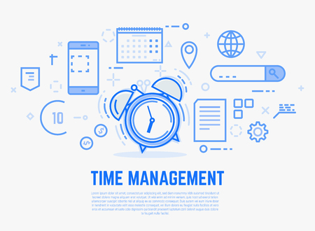 Time management concept. Old alarm clock with bells ringing. Day schedule and office items, calendar, docs. Modern vector line illustration.