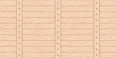 Transparente en todas las direcciones el fondo de una valla de madera con listones y clavos horizontales y verticales sobre ellos. El material natural es marrón con una textura de madera fina. Ilustración de vector