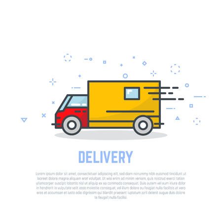 Delivery truck line logo. Linear delivery company advertising. Bright colors, flat style line modern vector illustration. Template for banner or commercial. Ilustracja