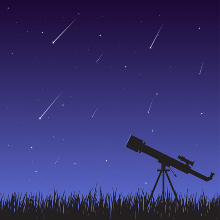 A telescope on the grass against a background of a night sky with a starfall. Astronomical observations of the universe, galaxy and celestial bodies.