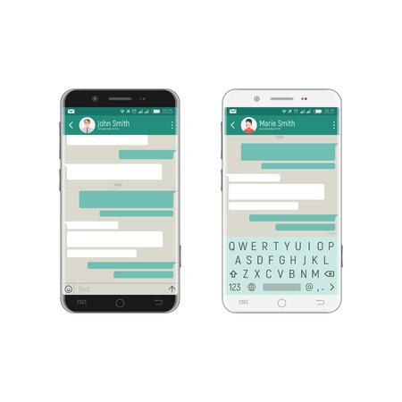 Application mobile avec des bulles pour communiquer sur l'écran des téléphones en noir et blanc, avec un clavier qwerty sur l'écran tactile. Banque d'images - 89622699