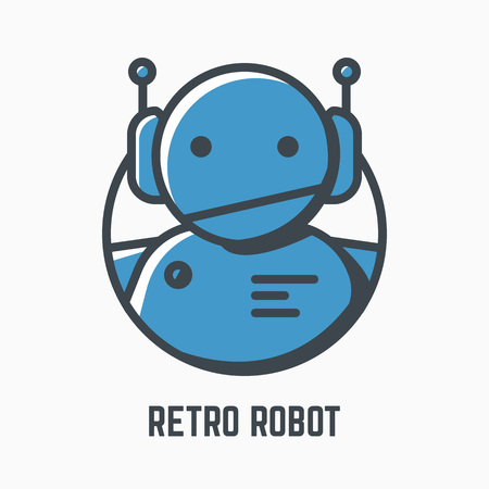 Retro robot line illustration. Blue android with headphones and antennas. Mono color vector. Logo, mascot or icon of old-fashioned bot. Lights and shadow style. Linear modern, trendy vector banner. Illustration
