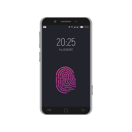 Smartphone with fingerprint locked screen. Date and time on the display. Security and biometrical protection. Vettoriali