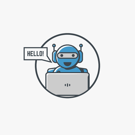 Retro robot with laptop smiling and say hello. Artificial intelligence concept in modern line vector.