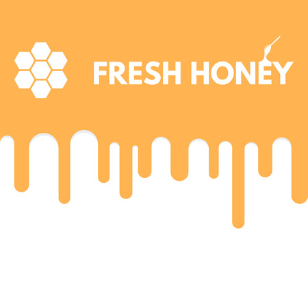 Honey melting down. Honeybees honey drip down. Golden and yellow color text on liquid. Abstract linear illustration.