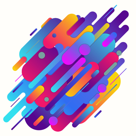 Geometric abstract gradient vector background, Geometric shapes with gradients and rounded corners diagonal in Violet and purple color gradients, Minimalist decoration for printing or web. Ilustrace