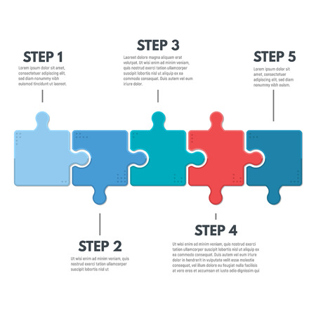 Puzzle infographic bussines concept. Template for business project presentation. Diagram with five puzzle pieces connected to each other. Modern line vector.  イラスト・ベクター素材
