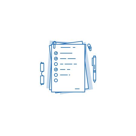Mucchio di documenti, formato a4 con cui svolgere attività e segni di spunta completi. Ordine del giorno sul concetto di carta. Lavori di ufficio e attività quotidiane. Vettoriali