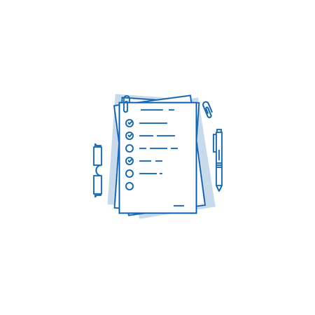 Pile of documents, a4 format with to do tasks and complete check marks. Agenda on paper concept. Office paper work and daily tasks. Vector Illustration