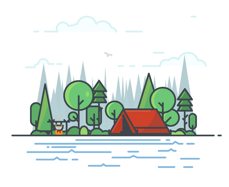Camping tent in the deciduous forest. Campfire with sticks and bowler boiling on fire. Green trees, fir-tree and spruce. Clouds and big forest on background, river or lake on foreground. Line vector. Illustration