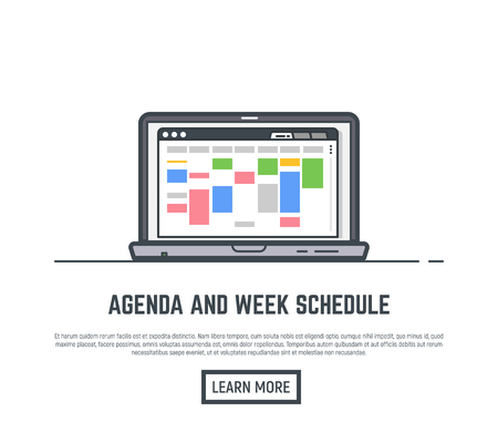 Schedule and agenda week calendar. Time planner for business and routine tasks. Web browser with app for scheduling weekly activity. Time schedule management. Line vector trendy illustration banner. Vectores