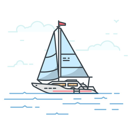 Modern sail yacht in the sea. Trendy line vector illustration. Big boat on water. Oceanic ship traveling concept. Water transport. Vettoriali