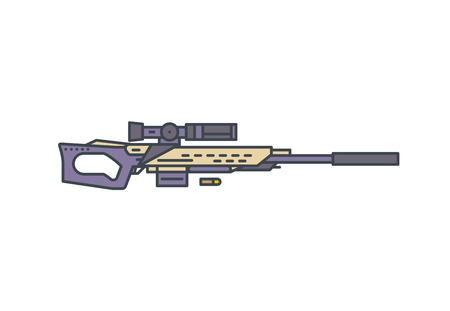 Sniper rifle vector line illustration. Modern hunting rifle with scope and silencer on white background. Linear modern vector illustration. 向量圖像