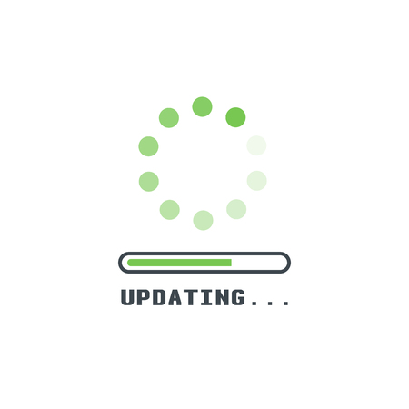 Updating software icon. Circle with transparent circling and spinning dots. Download process symbol with progress bar. Installing app or software. Stock Illustratie