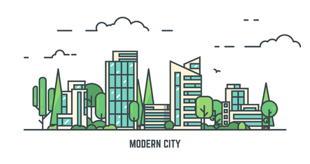 City with buildings and skyscrapers and trees. Flat style line vector illustration. Business city center with modern houses. Green park in center of town. Clouds and sky. Park and smart city concept.