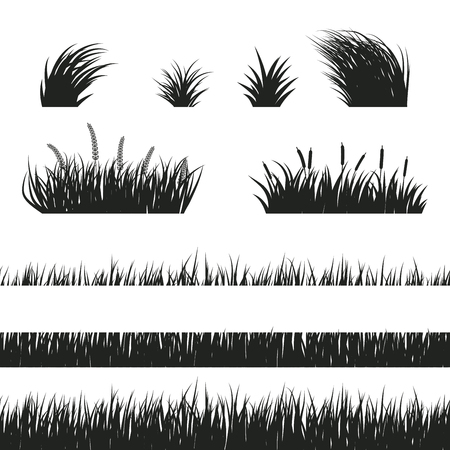 Black and white horizontal seamless grass silhouette. Lawn grass and bushes of varying degrees of germination. Freshly trimmed and wild grass.