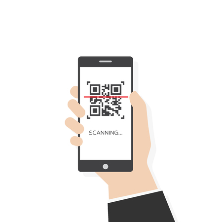 Phone scanning qr code vector flat style illustration. Human hand holding mobile smartphone with qr code. White background and phone screen.