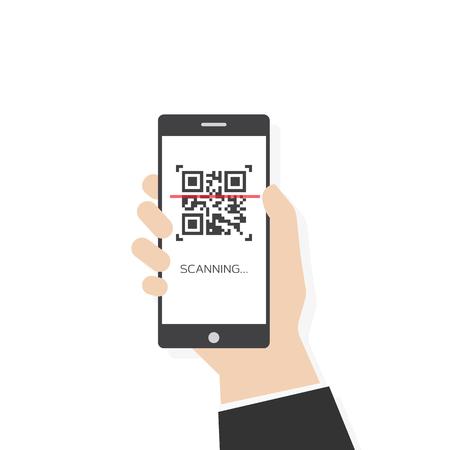Ilustración de estilo plano de vector de código qr de escaneo de teléfono. Mano humana sosteniendo teléfono inteligente móvil con código qr. Fondo blanco y pantalla de teléfono.