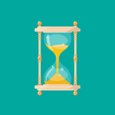 Transparent sandglass in retro style isolated on a green background. An antique tool for measuring time. Hourglass for business concept deadline.