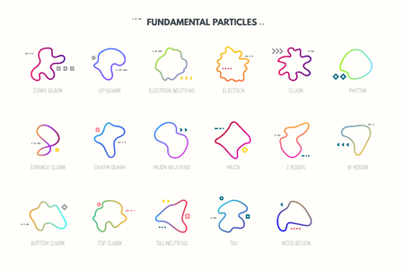 Standard model of elementary particles. String theory particles. Quarks, leptons and bosons table. Geometric abstract shapes. Lines and dots with strings. Line style gradient vector illustration.