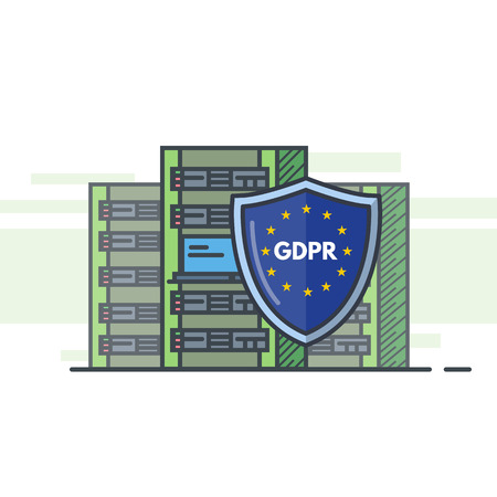 GDPR internet regulation. Server room with three big towers and shield protection. Security web banner. Green eco friendly cloud computing. Hosting provider servers. Trendy line vector illustration.  イラスト・ベクター素材