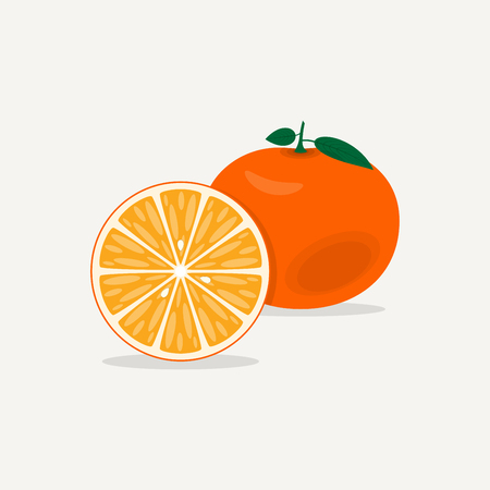 Brightly orange mandarin. A whole juicy ripe fruit with green leaves. Cut a half of the fruit with the texture of the lobules and the seeds of the plant.