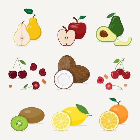 A set of various juicy fruits. Fresh grown young fruit, whole and cut into halves. Natural delicious food, useful for health.