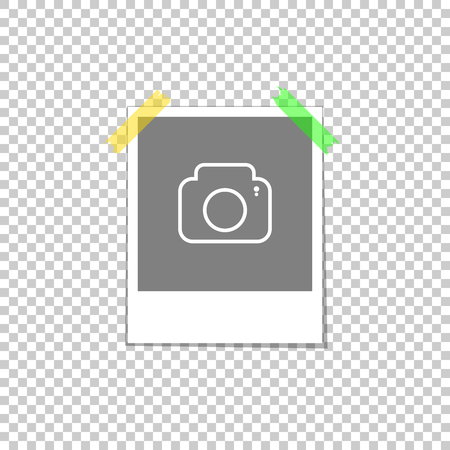 Photo rectangular template frame. Attached transparent tape in the corners with a camera icon shadow. For advertising projects pictures and snapshots. Illustration